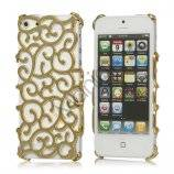 Hollow Palace Blomster Mønster Metalbelagt Hard Case iPhone 5 cover - Gold